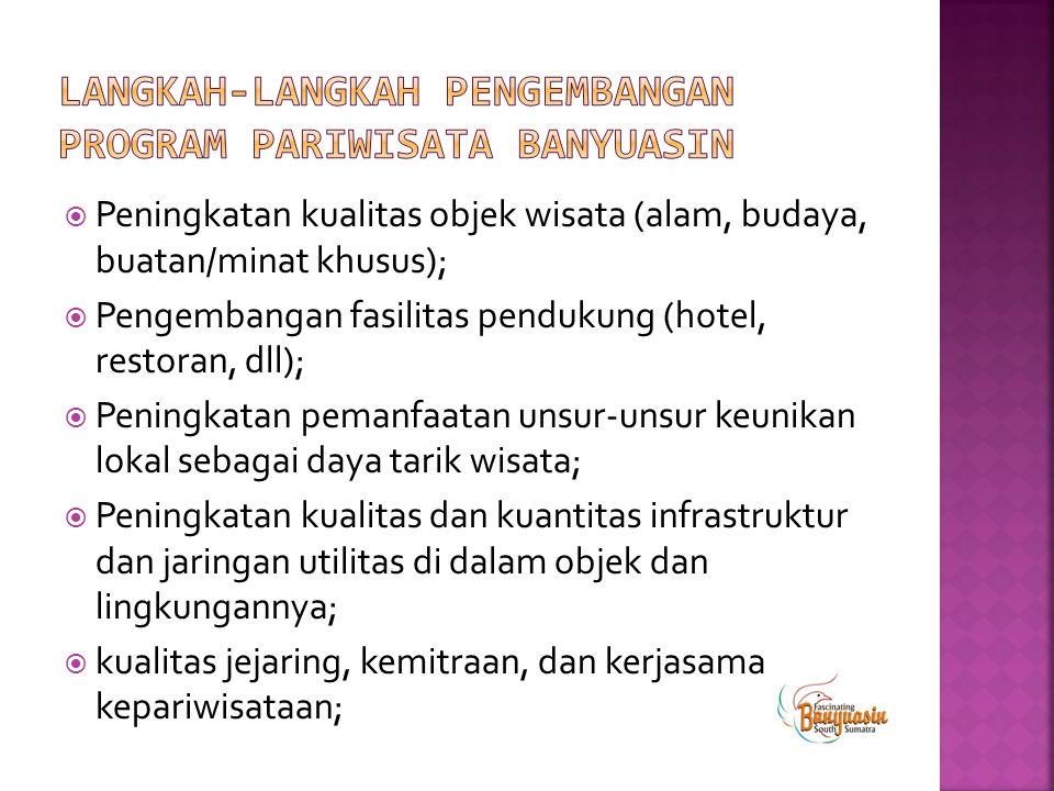  Peningkatan kualitas objek wisata (alam, budaya, buatan/minat khusus);  Pengembangan fasilitas pendukung (hotel, restoran, dll);  Peningkatan pema