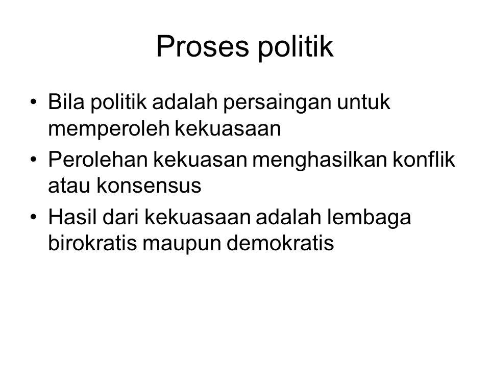 Proses politik Bila politik adalah persaingan untuk memperoleh kekuasaan Perolehan kekuasan menghasilkan konflik atau konsensus Hasil dari kekuasaan a