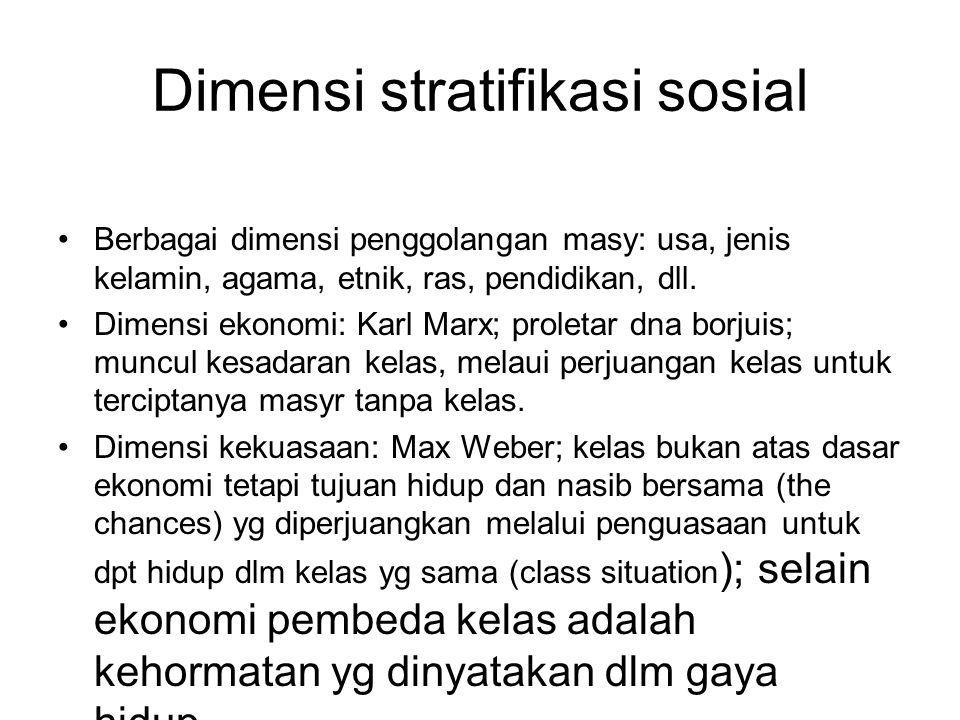 Dimensi stratifikasi sosial Berbagai dimensi penggolangan masy: usa, jenis kelamin, agama, etnik, ras, pendidikan, dll. Dimensi ekonomi: Karl Marx; pr