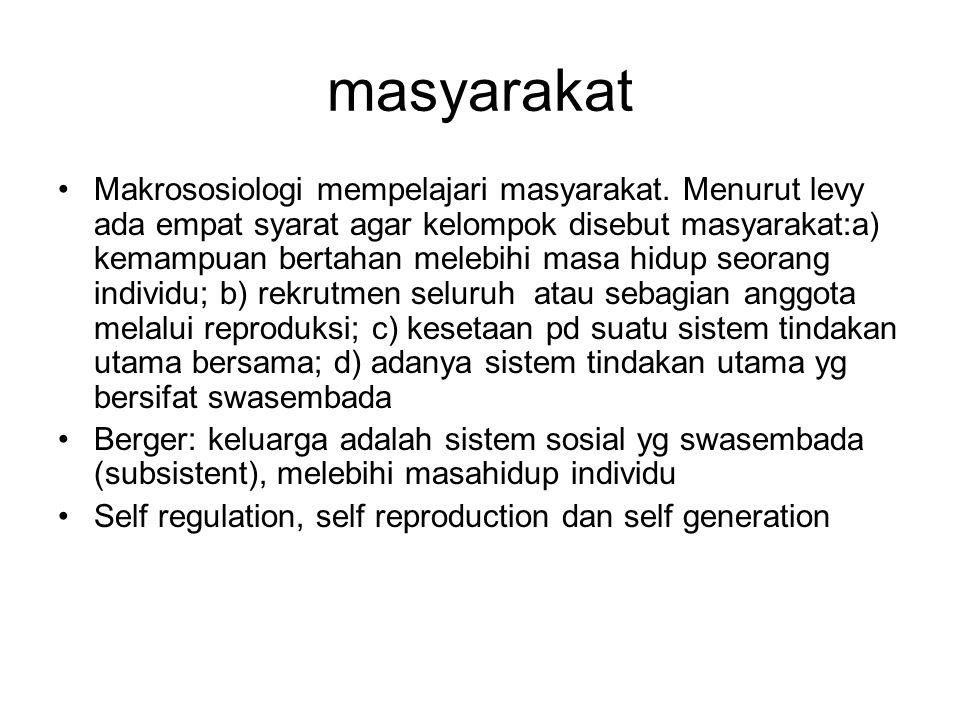 masyarakat Makrososiologi mempelajari masyarakat. Menurut levy ada empat syarat agar kelompok disebut masyarakat:a) kemampuan bertahan melebihi masa h