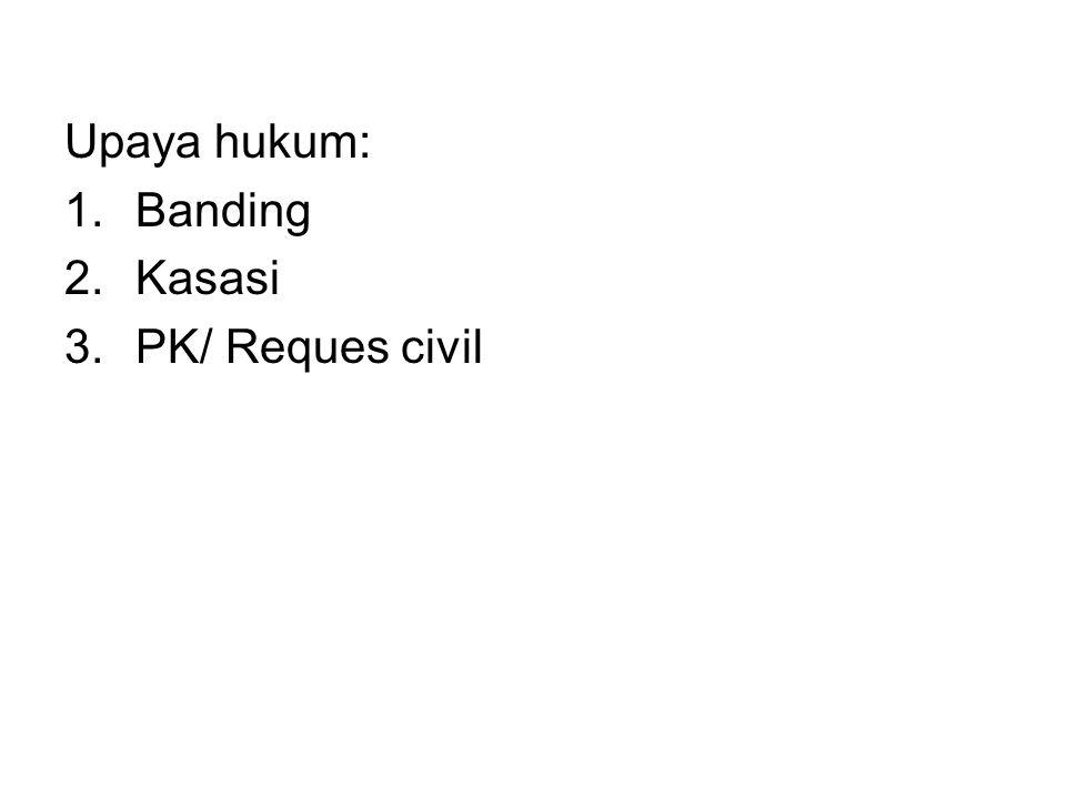 Upaya hukum: 1.Banding 2.Kasasi 3.PK/ Reques civil