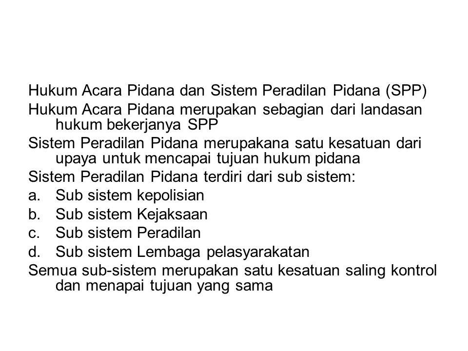 Hukum Acara Pidana dan Sistem Peradilan Pidana (SPP) Hukum Acara Pidana merupakan sebagian dari landasan hukum bekerjanya SPP Sistem Peradilan Pidana