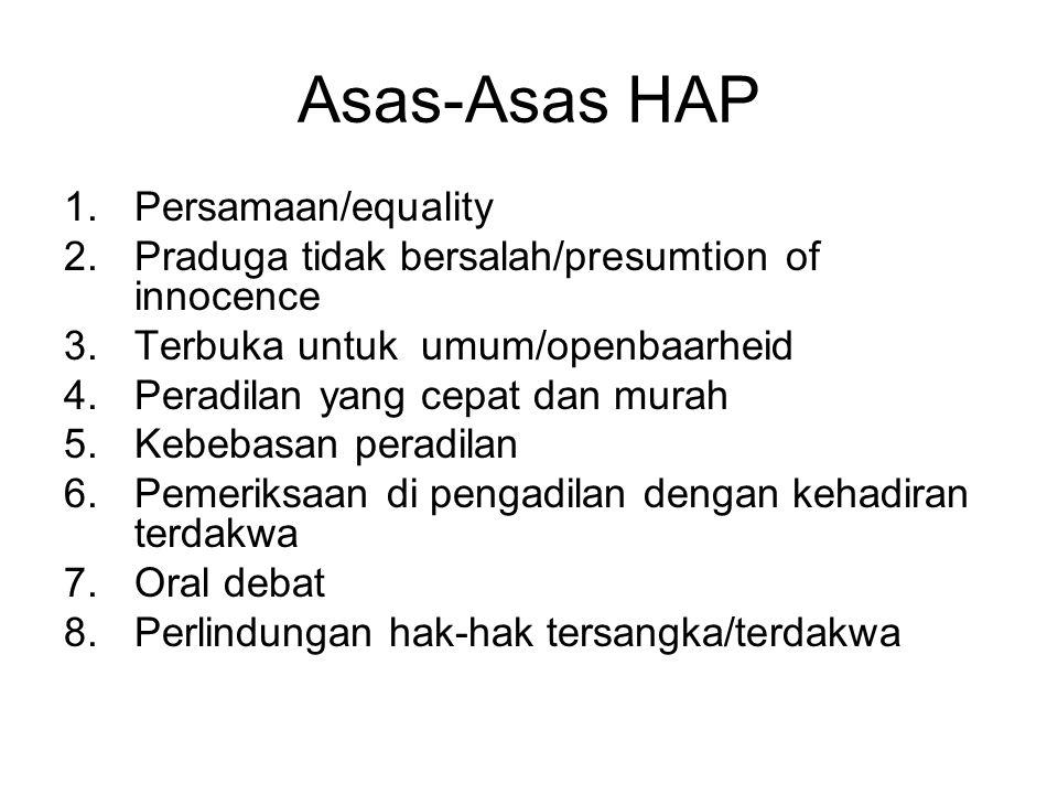 Asas-Asas HAP 1.Persamaan/equality 2.Praduga tidak bersalah/presumtion of innocence 3.Terbuka untuk umum/openbaarheid 4.Peradilan yang cepat dan murah