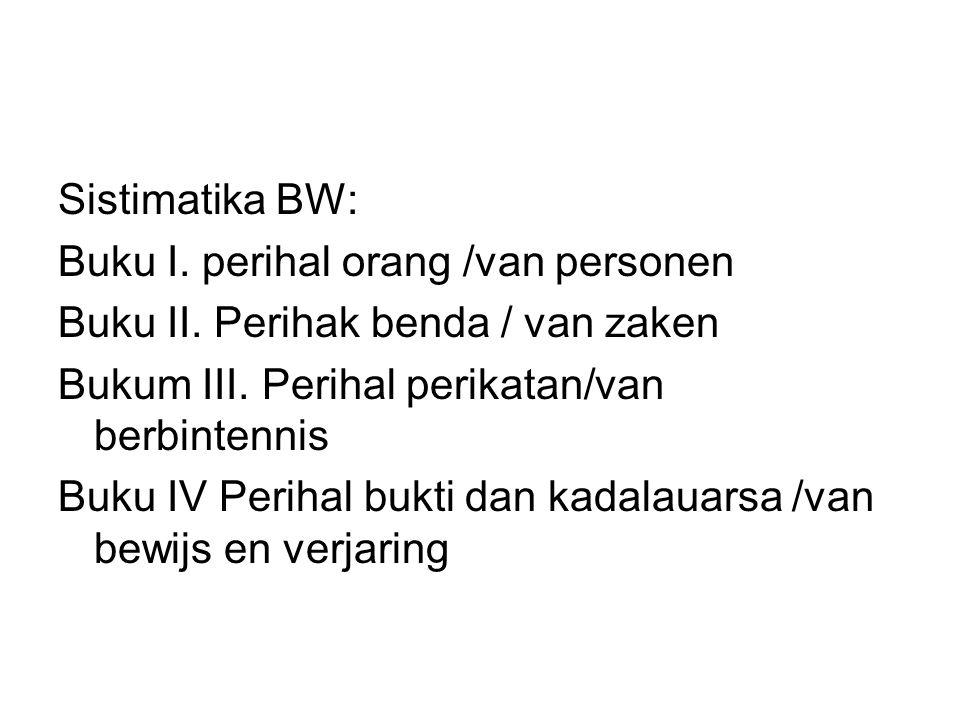 Sistimatika BW: Buku I. perihal orang /van personen Buku II. Perihak benda / van zaken Bukum III. Perihal perikatan/van berbintennis Buku IV Perihal b