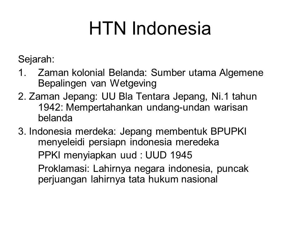 HTN Indonesia Sejarah: 1.Zaman kolonial Belanda: Sumber utama Algemene Bepalingen van Wetgeving 2. Zaman Jepang: UU Bla Tentara Jepang, Ni.1 tahun 194
