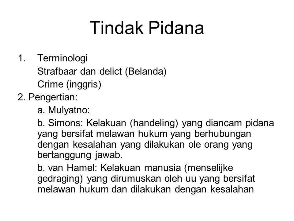 Tindak Pidana 1.Terminologi Strafbaar dan delict (Belanda) Crime (inggris) 2. Pengertian: a. Mulyatno: b. Simons: Kelakuan (handeling) yang diancam pi