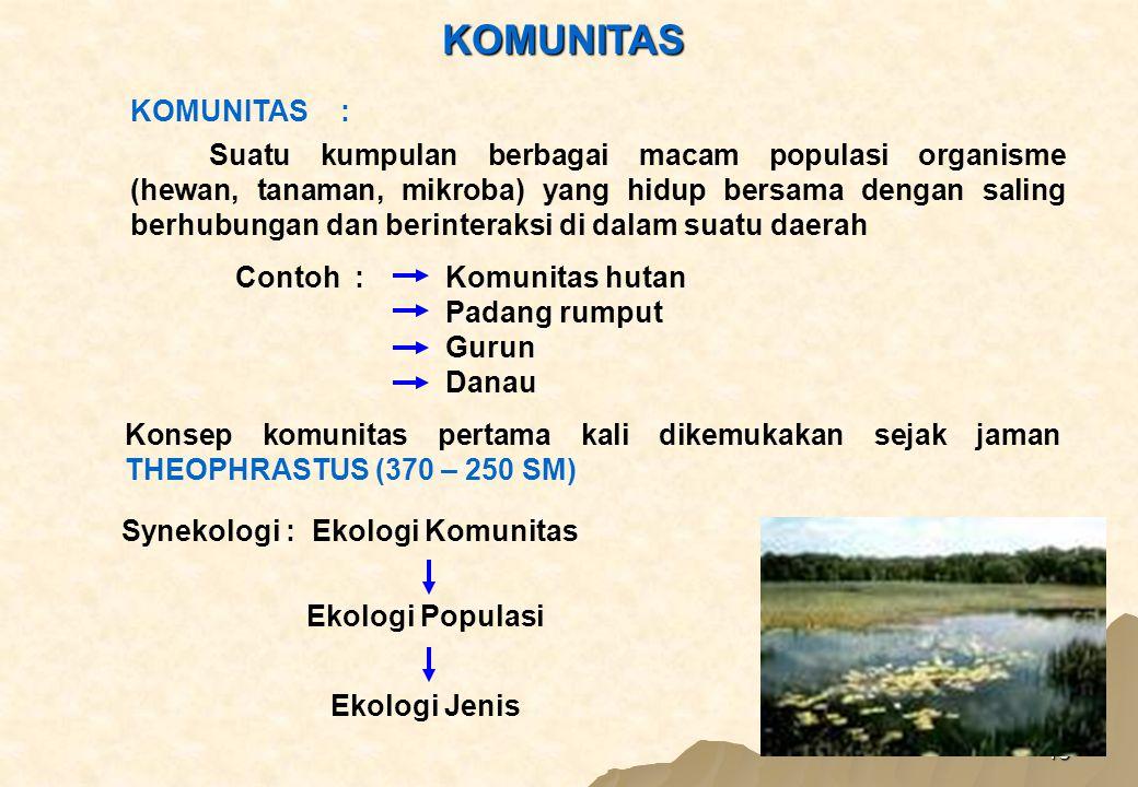 15 KOMUNITAS Suatu kumpulan berbagai macam populasi organisme (hewan, tanaman, mikroba) yang hidup bersama dengan saling berhubungan dan berinteraksi di dalam suatu daerah Contoh :Komunitas hutan Padang rumput Gurun Danau KOMUNITAS: Konsep komunitas pertama kali dikemukakan sejak jaman THEOPHRASTUS (370 – 250 SM) Synekologi : Ekologi Komunitas Ekologi Populasi Ekologi Jenis