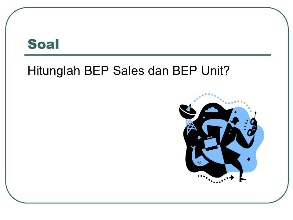 Soal Hitunglah BEP Sales dan BEP Unit?