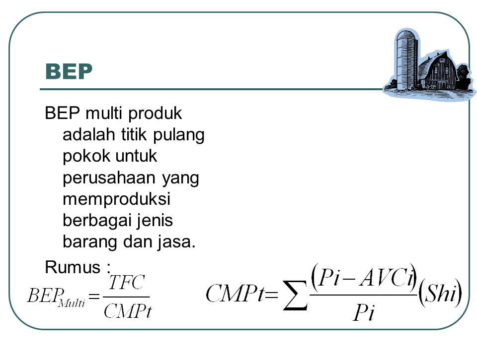 BEP BEP multi produk adalah titik pulang pokok untuk perusahaan yang memproduksi berbagai jenis barang dan jasa. Rumus :