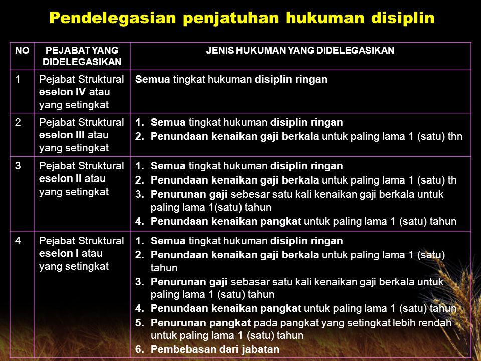 1234 5.Pejabat Pem- bina Kepega- waian Dae-rah Kabupa- ten/Kota 1 Semua jenis hukuman disiplin ringan 2.