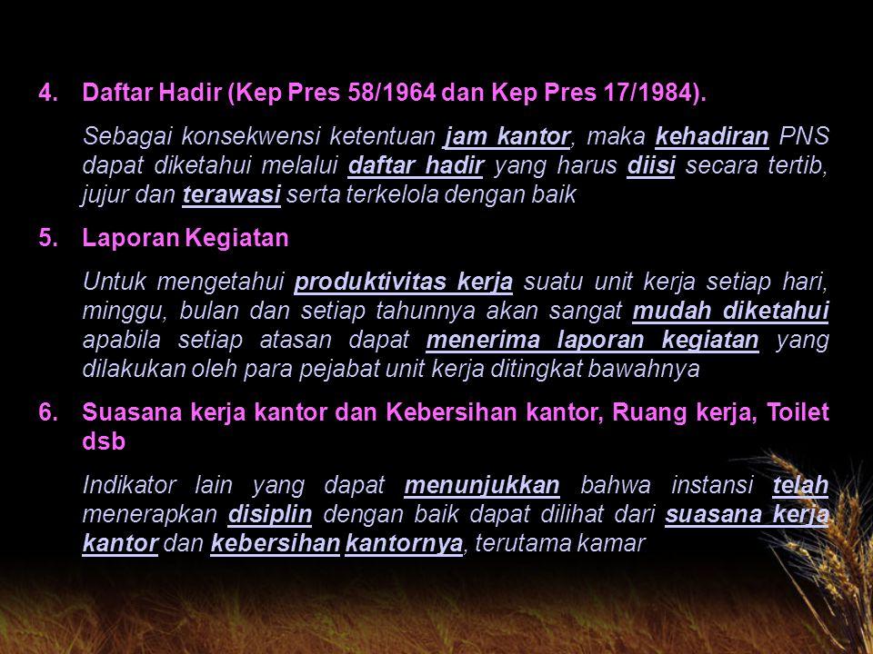 INSTRUMEN KENDALI DISIPLIN PNS 1.Peraturan Perundang-undangan : a.PP Nomor 30 Tahun 1980 tentang Peraturan Disiplin PNS b.PP Nomor 32 Tahun 1979 tentang Pemberhentian PNS c.PP Nomor 4 Tahun 1966 tentang Pemberhentian/ Pemberhentian Sementara Pegawai Negeri d.PP Nomor 10 Tahun 1983 jo PP Nomor 45 tahun 1990 Tentang Izin Perkawinan dan Perceraian PNS 2.Buku Biru Berdasarkan SE Kepela BAKN Nomor 02/SE/80 tanggal 11 Pebruari 1980, maka bagi setiap PNS menurut ketentuan disediakan buku catatan penilaian yang lazim disebut buku biru, dimana atasan langsung PNS yang bersangkutan wajib mengisi dan mencatat segala temuan dari bawahannya baik yang positif maupun yang negatif dan menyimpannya.