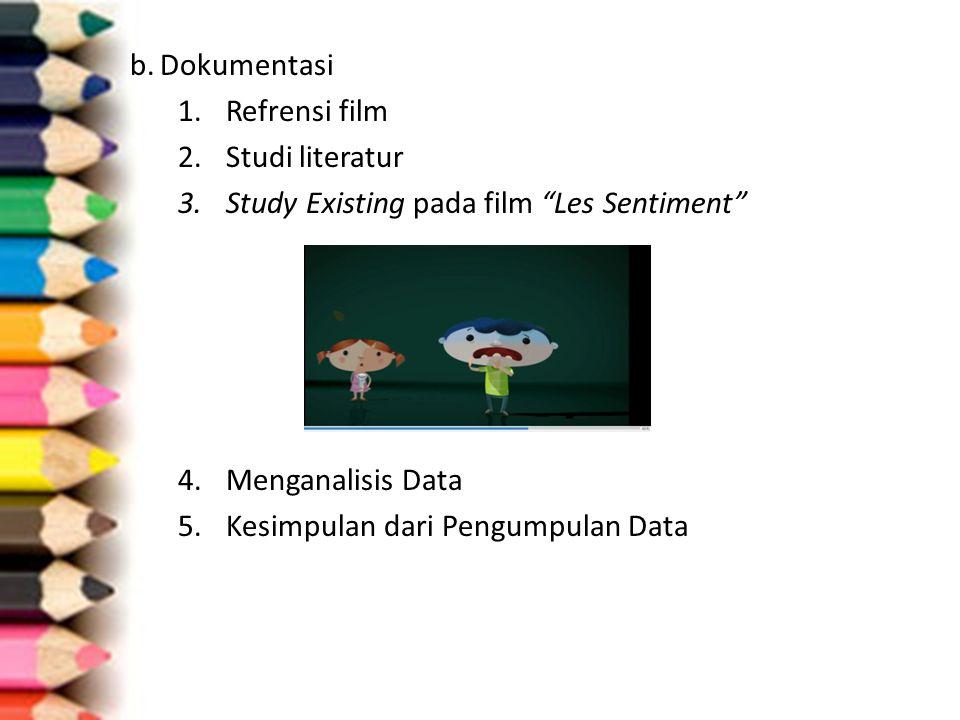 """b.Dokumentasi 1.Refrensi film 2.Studi literatur 3.Study Existing pada film """"Les Sentiment"""" 4.Menganalisis Data 5.Kesimpulan dari Pengumpulan Data"""