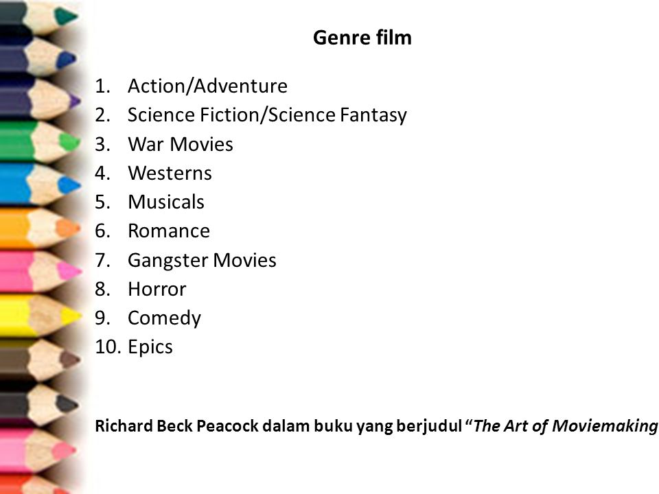 Genre film 1.Action/Adventure 2.Science Fiction/Science Fantasy 3.War Movies 4.Westerns 5.Musicals 6.Romance 7.Gangster Movies 8.Horror 9.Comedy 10.Ep