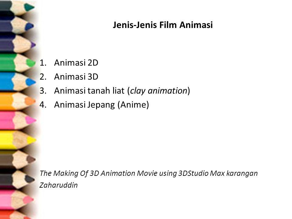 Teknik animasi 1.Film Animasi Dwi-Matra (Flat Animation) a.Film animasi sel (Cel Technique) b.Penggambaran langsung pada film 2.Film Animasi Tri-Matra (Object Animation) c.Film Animasi Boneka (Puppet Animation) d.Film Animasi Model e.Film Animasi Potongan (Cut-out Animation) f.Film Animasi Bayangan (Silhoutte Animation) g.Film Animasi Kolase (Collage Animation) www.pasarkreasi.com