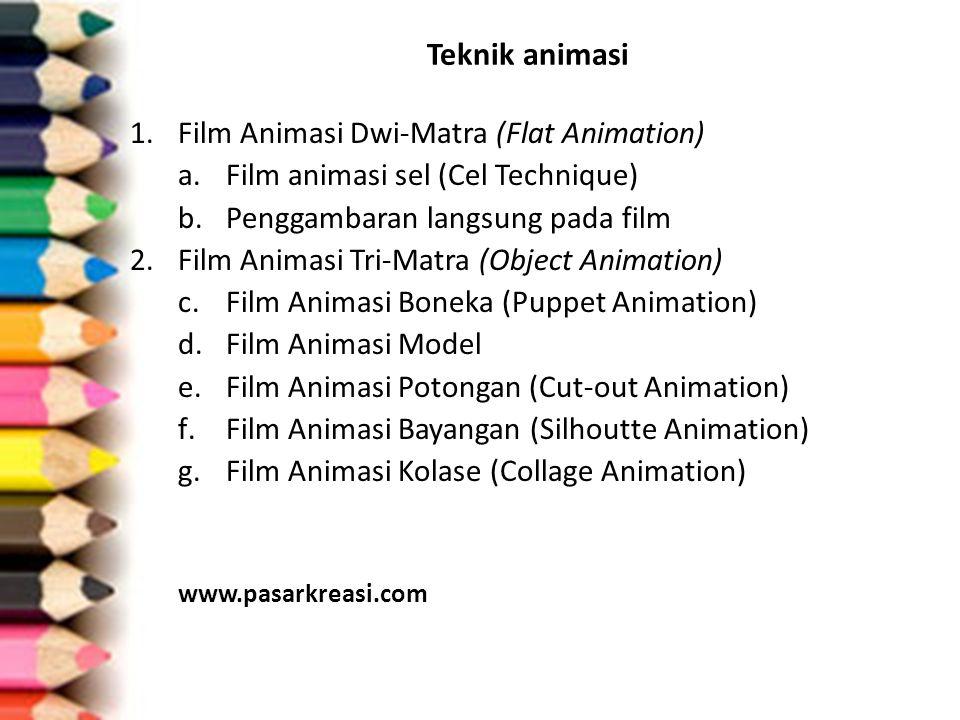 Teknik animasi 1.Film Animasi Dwi-Matra (Flat Animation) a.Film animasi sel (Cel Technique) b.Penggambaran langsung pada film 2.Film Animasi Tri-Matra