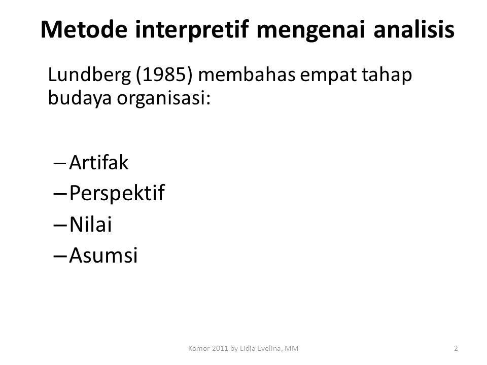 Metode interpretif mengenai analisis Lundberg (1985) membahas empat tahap budaya organisasi: – Artifak – Perspektif – Nilai – Asumsi 2Komor 2011 by Li