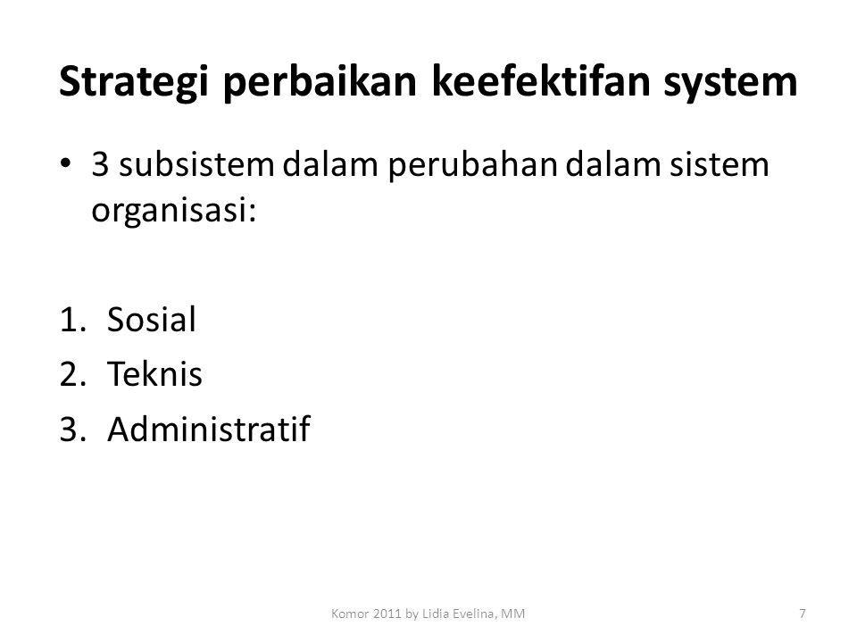 Strategi perbaikan keefektifan system 3 subsistem dalam perubahan dalam sistem organisasi: 1.Sosial 2.Teknis 3.Administratif 7Komor 2011 by Lidia Evel