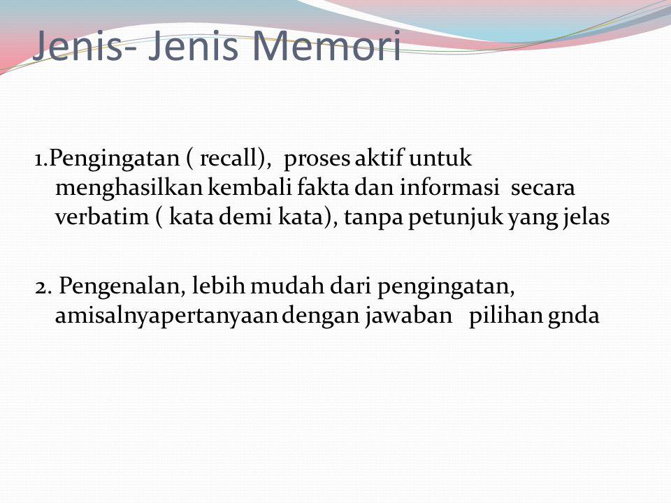 Jenis- Jenis Memori 1.Pengingatan ( recall), proses aktif untuk menghasilkan kembali fakta dan informasi secara verbatim ( kata demi kata), tanpa petu
