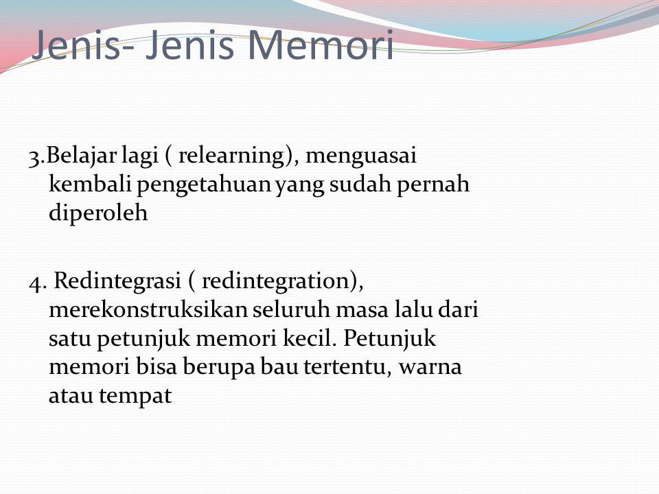 Jenis- Jenis Memori 3.Belajar lagi ( relearning), menguasai kembali pengetahuan yang sudah pernah diperoleh 4. Redintegrasi ( redintegration), merekon