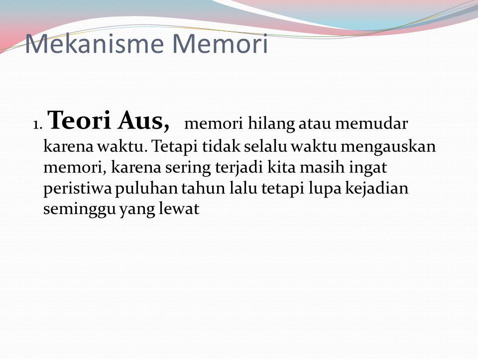 Mekanisme Memori 1. Teori Aus, memori hilang atau memudar karena waktu. Tetapi tidak selalu waktu mengauskan memori, karena sering terjadi kita masih