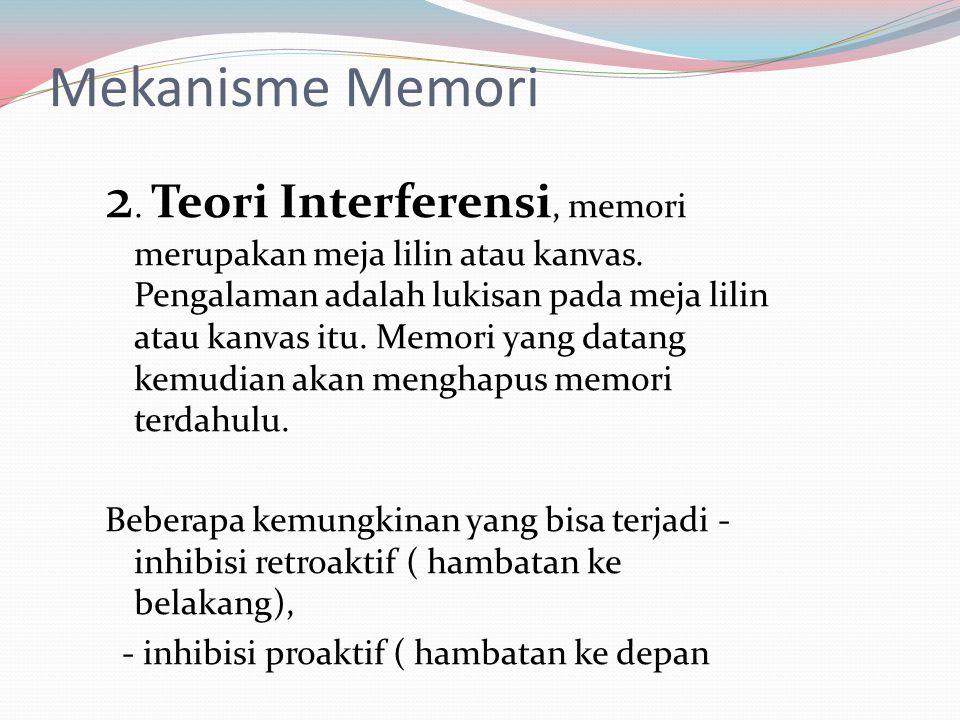 Mekanisme Memori 2. Teori Interferensi, memori merupakan meja lilin atau kanvas. Pengalaman adalah lukisan pada meja lilin atau kanvas itu. Memori yan