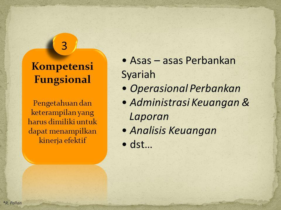3 Kompetensi Fungsional Pengetahuan dan keterampilan yang harus dimiliki untuk dapat menampilkan kinerja efektif *R.