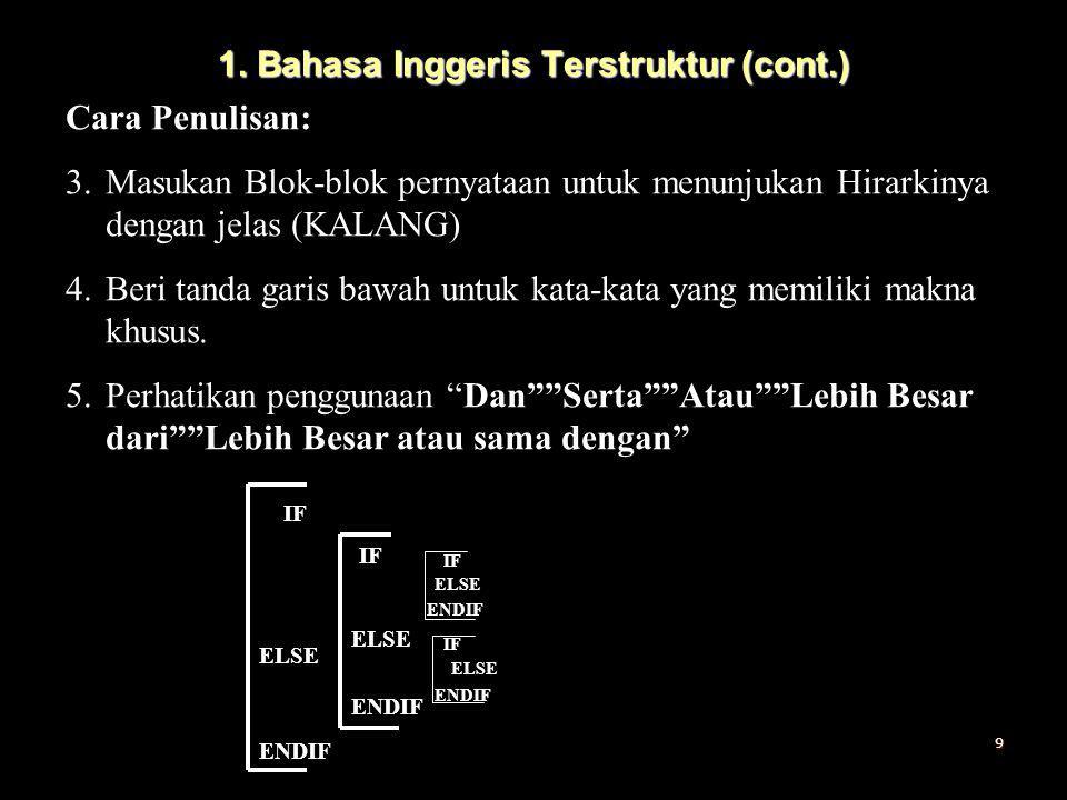 1. Bahasa Inggeris Terstruktur (cont.) Cara Penulisan: 3.Masukan Blok-blok pernyataan untuk menunjukan Hirarkinya dengan jelas (KALANG) 4.Beri tanda g