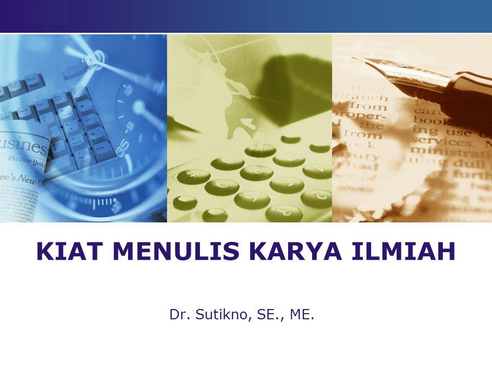 LOGO KIAT MENULIS KARYA ILMIAH Dr. Sutikno, SE., ME.
