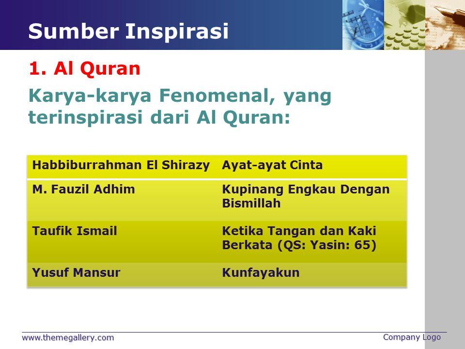 Sumber Inspirasi www.themegallery.com Company Logo Karya-karya Fenomenal, yang terinspirasi dari Al Quran: 1. Al Quran