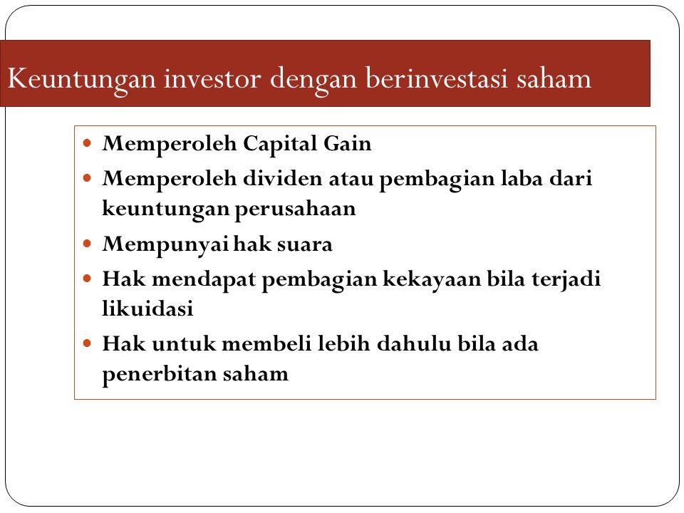 Keuntungan investor dengan berinvestasi saham Memperoleh Capital Gain Memperoleh dividen atau pembagian laba dari keuntungan perusahaan Mempunyai hak