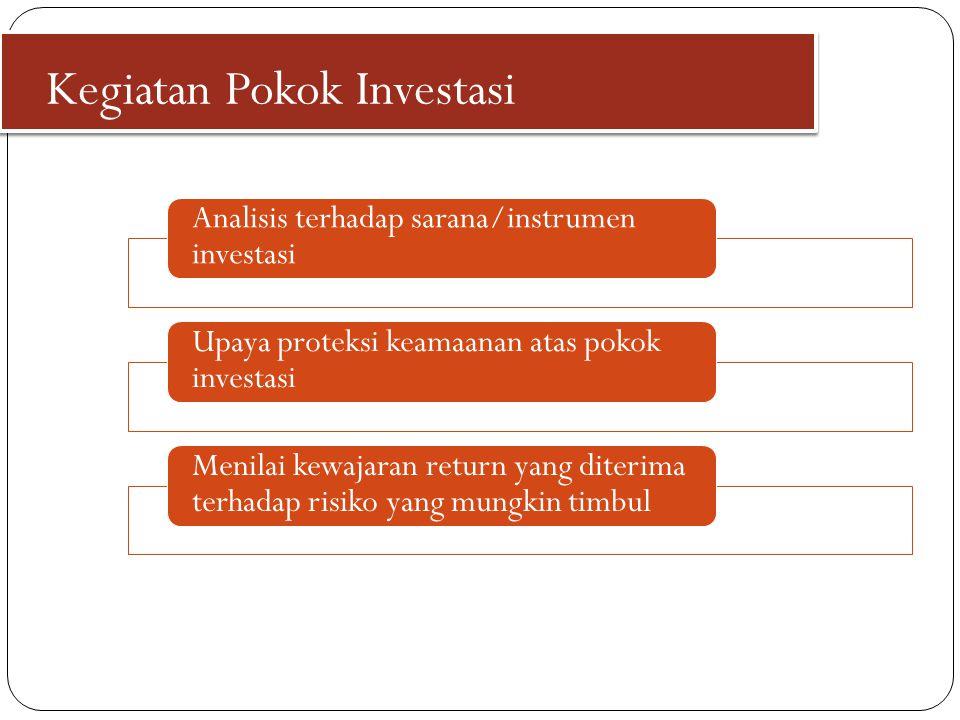 Kegiatan Pokok Investasi Analisis terhadap sarana/instrumen investasi Upaya proteksi keamaanan atas pokok investasi Menilai kewajaran return yang dite