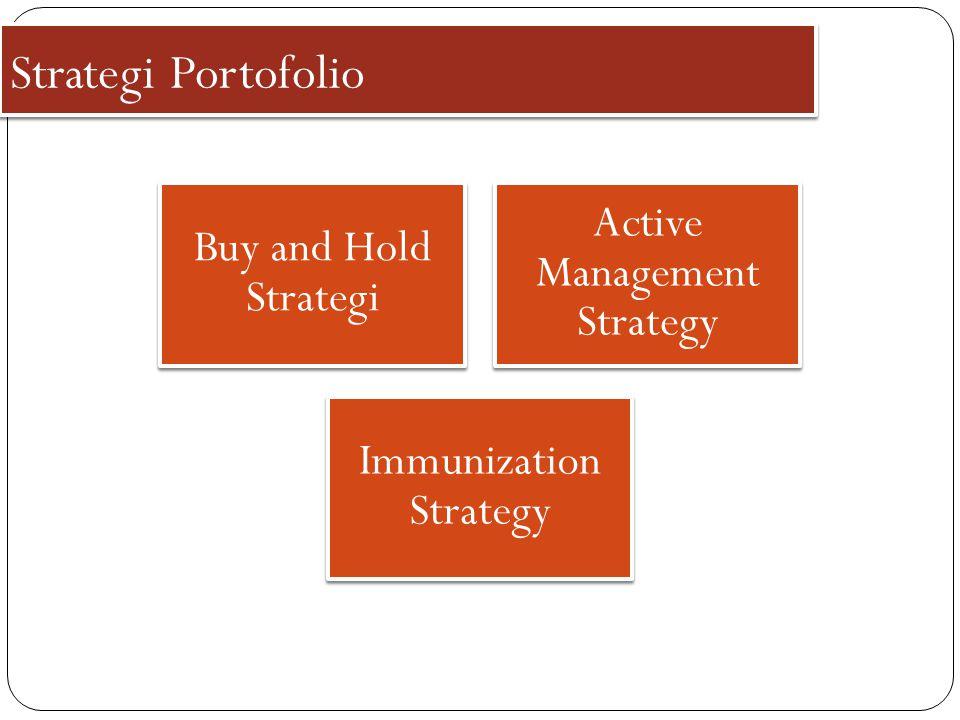 Strategi Portofolio Buy and Hold Strategi Active Management Strategy Immunization Strategy