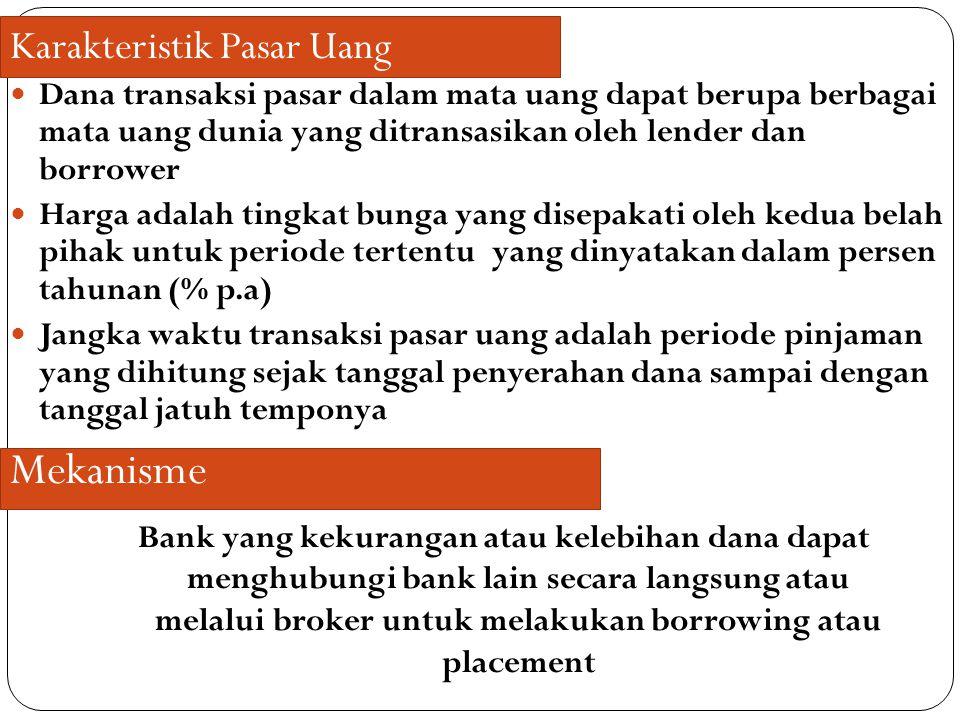 Dana transaksi pasar dalam mata uang dapat berupa berbagai mata uang dunia yang ditransasikan oleh lender dan borrower Harga adalah tingkat bunga yang