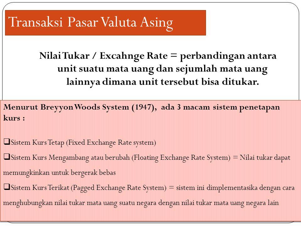 Transaksi Pasar Valuta Asing Nilai Tukar / Excahnge Rate = perbandingan antara unit suatu mata uang dan sejumlah mata uang lainnya dimana unit tersebu