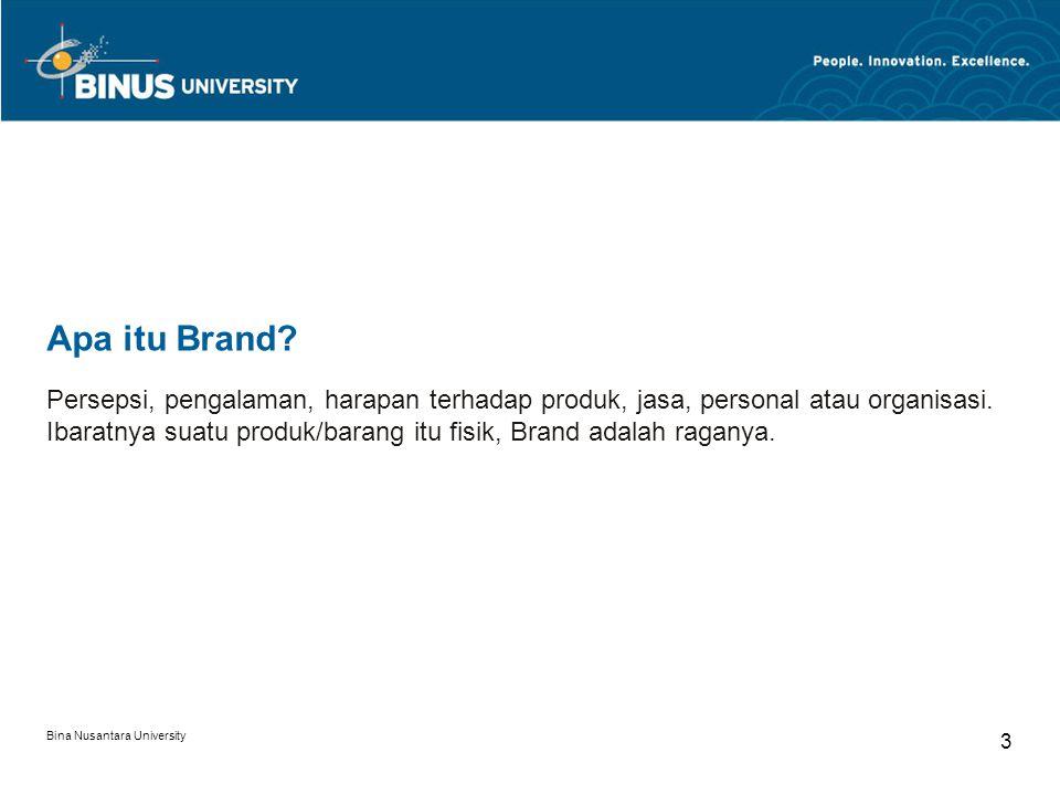 Bina Nusantara University 4 USP Unique Selling Proposition/ Point Keunikan atau ke-khasan yang dimiliki suatu produk/brand/jasa keunikan yang bisa dilihat dirasa dari bentuk fisik ataupun content.
