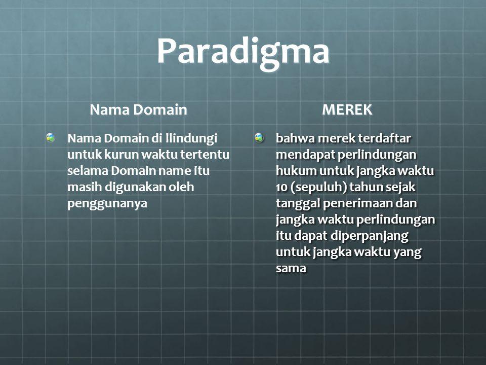Paradigma Nama Domain Nama Domain di llindungi untuk kurun waktu tertentu selama Domain name itu masih digunakan oleh penggunanya MEREK bahwa merek te