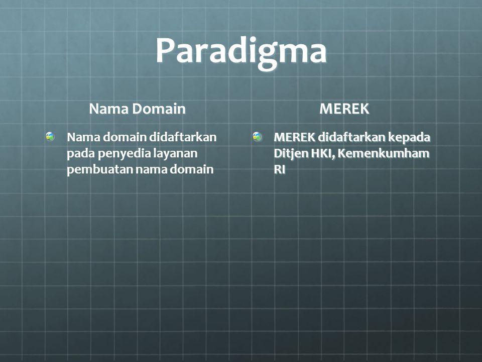 Paradigma Nama Domain Nama domain didaftarkan pada penyedia layanan pembuatan nama domain MEREK MEREK didaftarkan kepada Ditjen HKI, Kemenkumham RI
