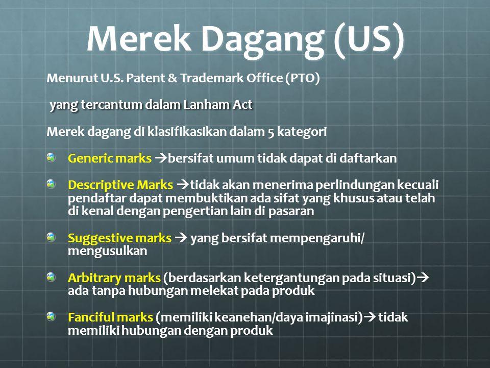Merek Dagang (US) Menurut U.S. Patent & Trademark Office (PTO) yang tercantum dalam Lanham Act yang tercantum dalam Lanham Act Merek dagang di klasifi
