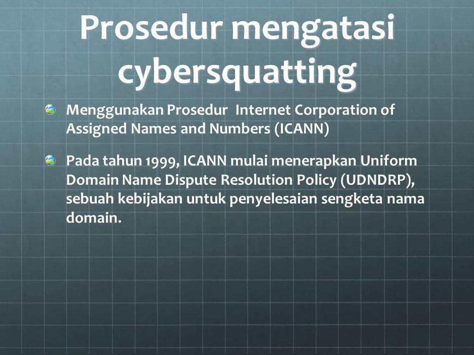 Prosedur mengatasi cybersquatting Menggunakan Prosedur Internet Corporation of Assigned Names and Numbers (ICANN) Pada tahun 1999, ICANN mulai menerap
