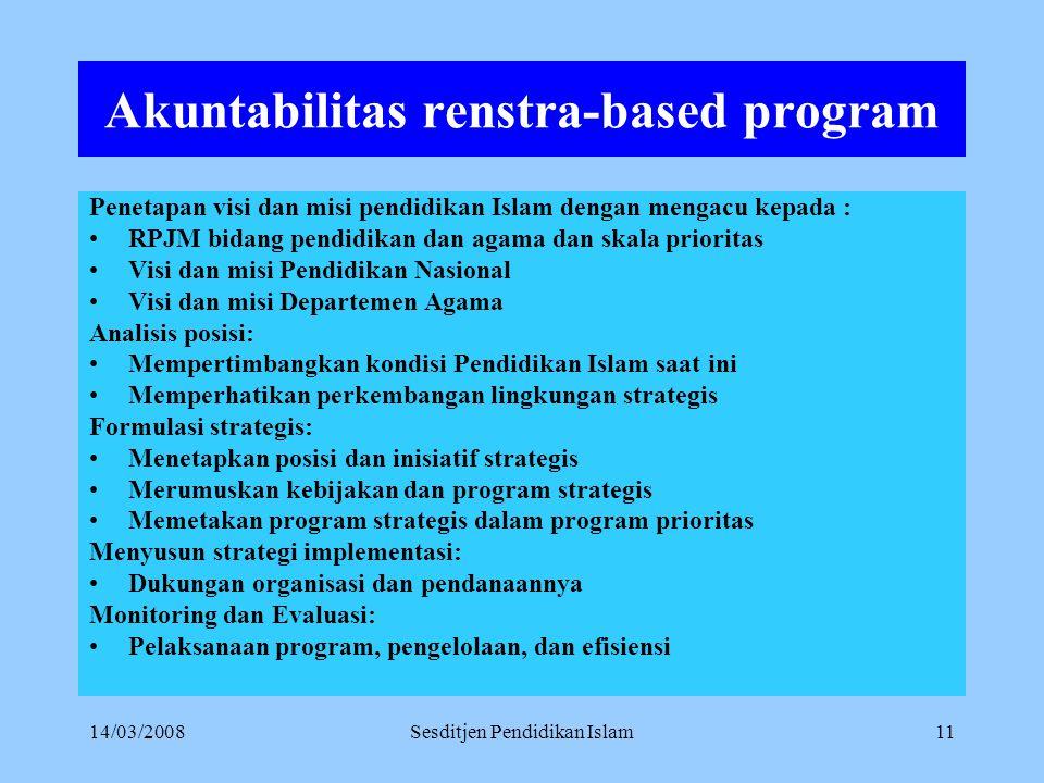 14/03/2008Sesditjen Pendidikan Islam10 Akuntabilitas Akuntabilitas program, melalui: Dilakukan melalui: pengembangan Renstra-based program, sistem pel