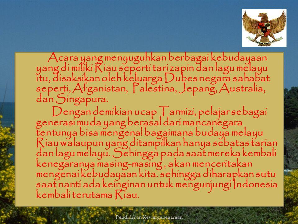 Budaya merupakan salah satu identitas nasional Indonesia, contohnya budaya Melayu. Budaya Melayu disosialisasikan ke sekolah internasional, ini merupa
