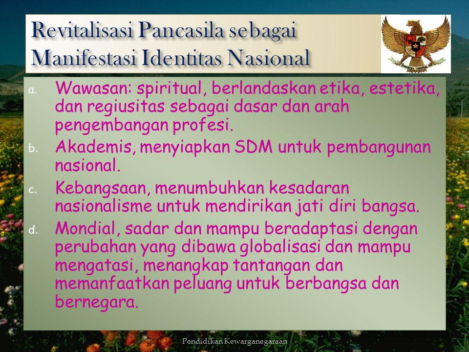 B. IDEALISC. FLEKSIBELITAS Secara prospektif mempertahankan dan mengembangkan identitas nasional melalui berbagai pergerakan baik dari kalangan akadem