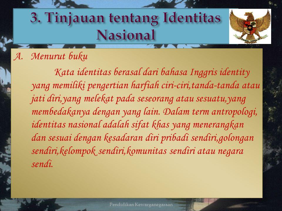 Jadi, dapat disimpulkan bahwa identitas nasional itu menunjukan karakter suatu bangsa yang berbeda dari bangsa yang lainnya, sehingga identitas nasion