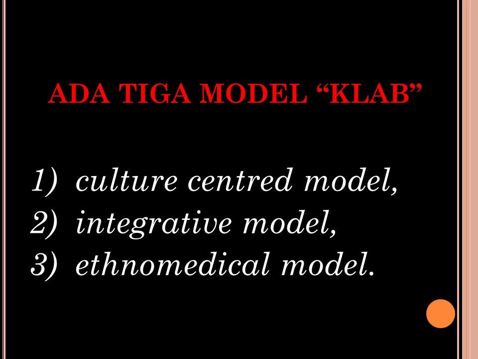 """ADA TIGA MODEL """"KLAB"""" 1) culture centred model, 2) integrative model, 3) ethnomedical model."""