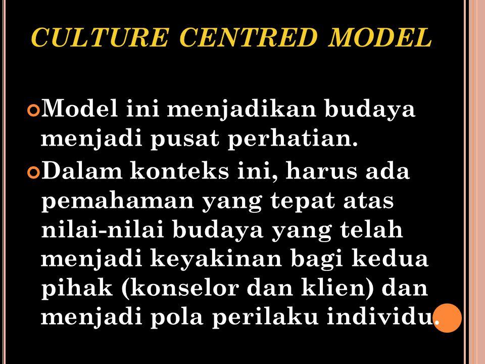 CULTURE CENTRED MODEL Model ini menjadikan budaya menjadi pusat perhatian. Dalam konteks ini, harus ada pemahaman yang tepat atas nilai-nilai budaya y