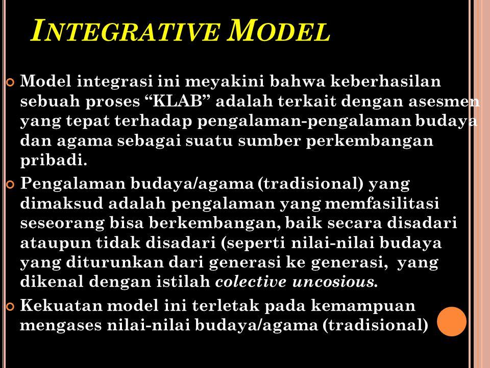 """I NTEGRATIVE M ODEL Model integrasi ini meyakini bahwa keberhasilan sebuah proses """"KLAB"""" adalah terkait dengan asesmen yang tepat terhadap pengalaman-"""