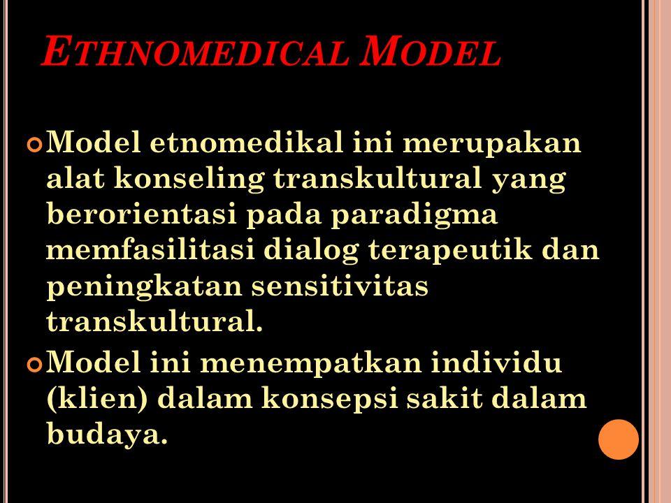 E THNOMEDICAL M ODEL Model etnomedikal ini merupakan alat konseling transkultural yang berorientasi pada paradigma memfasilitasi dialog terapeutik dan
