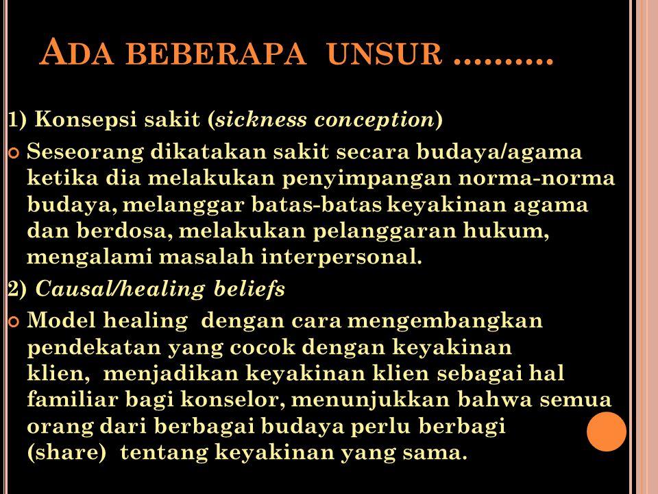 A DA BEBERAPA UNSUR.......... 1) Konsepsi sakit ( sickness conception ) Seseorang dikatakan sakit secara budaya/agama ketika dia melakukan penyimpanga