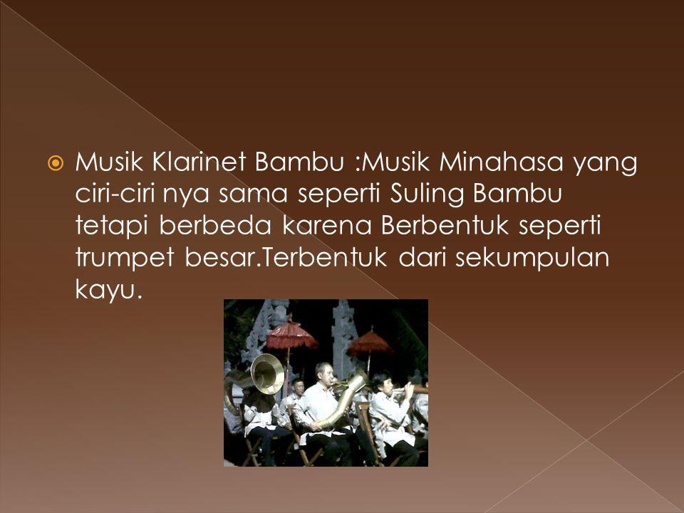  Musik Klarinet Bambu :Musik Minahasa yang ciri-ciri nya sama seperti Suling Bambu tetapi berbeda karena Berbentuk seperti trumpet besar.Terbentuk da