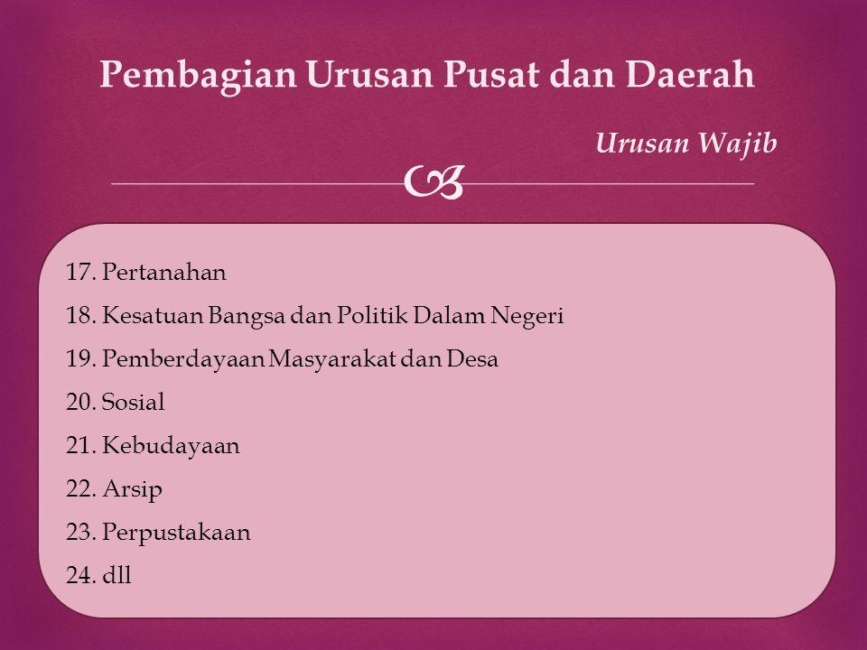  Pembagian Urusan Pusat dan Daerah Urusan Wajib 17. Pertanahan 18. Kesatuan Bangsa dan Politik Dalam Negeri 19. Pemberdayaan Masyarakat dan Desa 20.